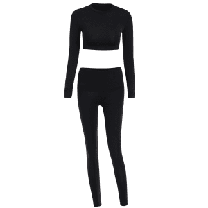 Long Sleeve Cropped T-Shirt With Leggings Gym Outfits -
