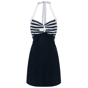 Halter Sailor Swimdress Stripe Tankini Top Bathing Suit - WHITE/BLACK 2XL