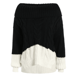 High-Low Color Block Cowl Neck Sweater - BLACK ONE SIZE