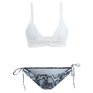 Cami Abstract Print String Bikini Set - WHITE M