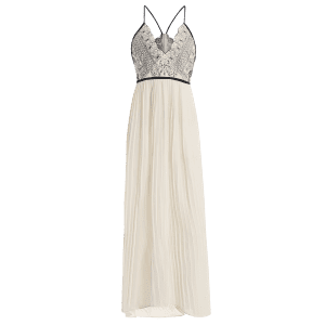 Plunge Floor Length Pleated Chiffon Formal Prom Dress - OFF WHITE XL