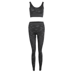 Sporty Bra with Camo Running Leggings Pants -