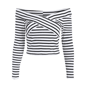 Off Shoulder Striped Front Criss T-Shirt -
