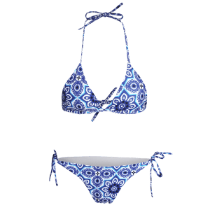Halter Ethnic Style String Graphic Bathing Suit -