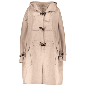 Hooded Duffel Walker Coat With Pockets - KHAKI L