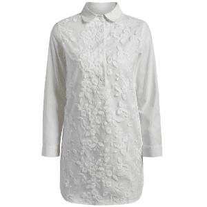 Long Buttoned Floral Embroidered Linen Shirt -