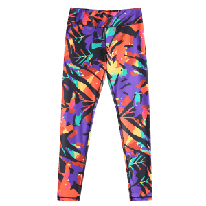 Stylish Elastic Waist Colorful Printed Stretch Sport Pants For Women - COLORMIX M