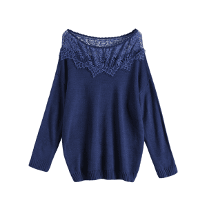 Plus Size Lace Spliced Pullover Sweater - DEEP BLUE 5XL