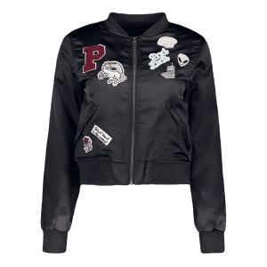 Patched Quilted Thermal Bomber Jacket -