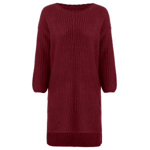High-Low Slit Sweater Dress - WINE RED ONE SIZE