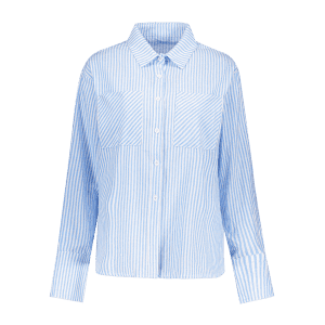 Hook and Eye Wrap Striped Shirt - BLUE AND WHITE XL