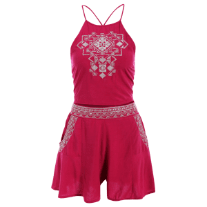 Trendy Embrodiered Cami Crop Top and Pocket Shorts Women's Twinset -