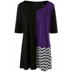 Plus Size Color Chevron Trim Longline T-Shirt