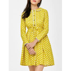 Lace Polka Dot Peter Pan Collar Mini Dress - Yellow - M