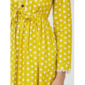 Lace Polka Dot Peter Pan Collar Mini Dress - YELLOW M