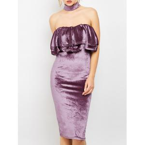Knee Length Choker Bodycon Velvet Dress
