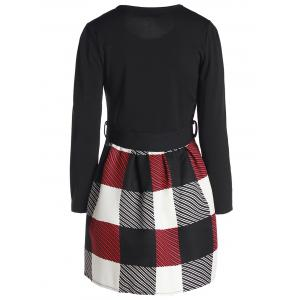 Women's Chic Long Sleeve Scoop Neck Plaid Dress - RED S