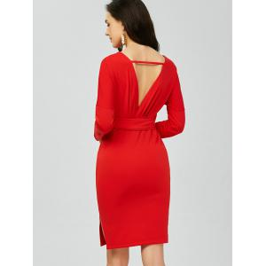 V Neck Backless Long Sleeve Pencil Dress - RED ONE SIZE