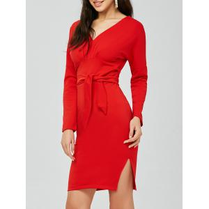 V Neck Backless Long Sleeve Pencil Dress - Red - One Size