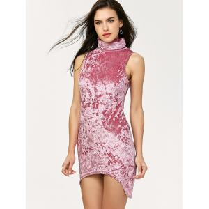 Turtleneck Sleeveless Velvet Mini Bodycon Dress - PINK S
