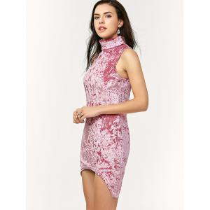 Turtleneck Velvet Mini Bodycon Dress - PINK S