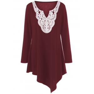 Plus Size Crochet Asymmetric Tunic T-Shirt - Wine Red - 3xl