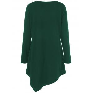 Plus Size Crochet Asymmetric Tunic T-Shirt - GREEN XL