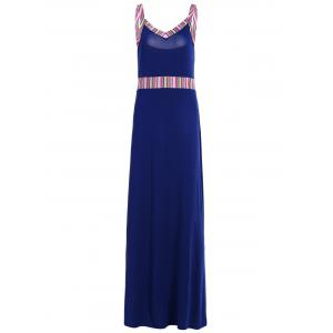 Stripe Panel Long Slip Evening Dress - Deep Blue - Xl