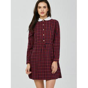 Peter Pan Collar Mini Plaid Dress - DEEP RED M