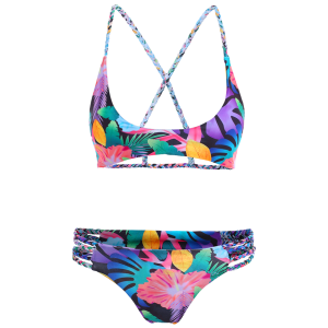 Crisscross Pineapple Print Strappy Bikini Set - BLUE XL