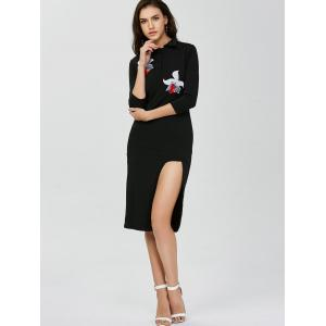 Polo Collar Floral Embroidered High Slit Dress - BLACK ONE SIZE