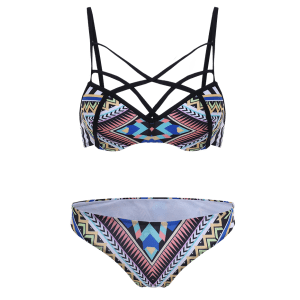 Patterned Strappy Boho Tribal Bikini Swimwear -