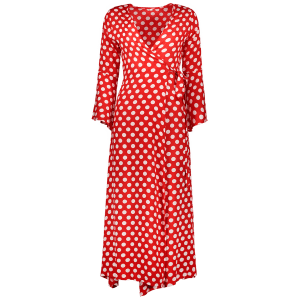 Christmas Polka Dot Tea Length Wrap Dress -