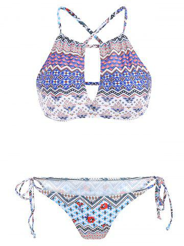 Stylish Color Block Print Cut Out Two-Piece Swimwear For Women - Colormix - L