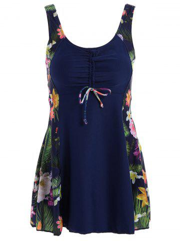Discount Floral Print Skirted Plus Size One Piece Swimwear