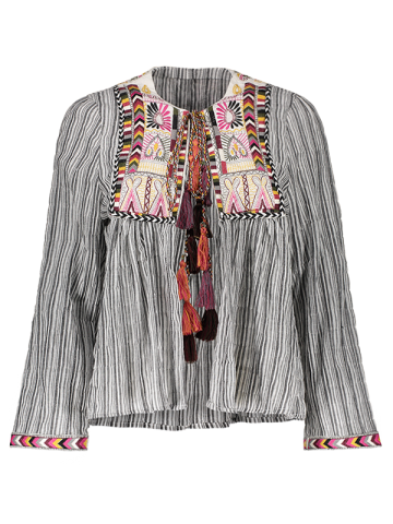 Sale Front Tie Closure Embroidered Striped Blouse