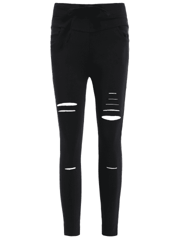 Cheap Ripped High Waisted Capri Skinny Pants - L BLACK Mobile
