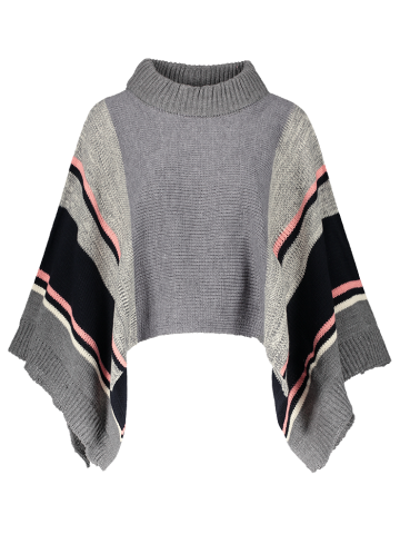 Online Color Block Dolman Poncho Sweater GRAY ONE SIZE