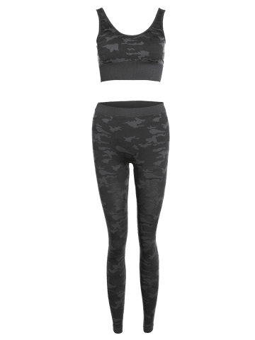 Hot Sporty Bra with Camo Running Leggings Pants - M CAMOUFLAGE Mobile