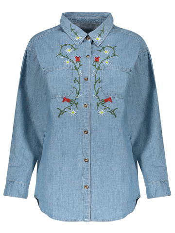 Trendy Long Sleeve Floral Embroidered Longline Denim Chambray Shirt LIGHT BLUE L