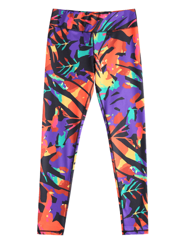 Fashion Stylish Elastic Waist Colorful Printed Stretch Sport Pants For Women - M COLORMIX Mobile