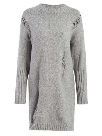 Chic Distressed Long Oversized Sweater GRAY ONE SIZE