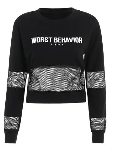 Sale Letter Pattern Mesh Spliced Sweatshirt - L BLACK Mobile