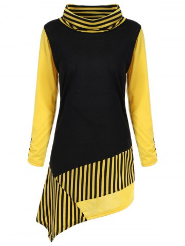 Cowl Neck Stripe Color Block Asymmetric Tee - Yellow And Black - M