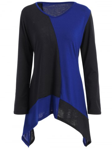 Long Sleeve Color Block Asymmetric T-Shirt - Blue - M