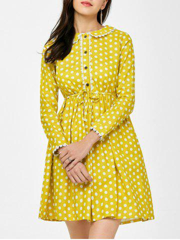 Latest Lace Polka Dot Peter Pan Collar Mini Dress YELLOW M