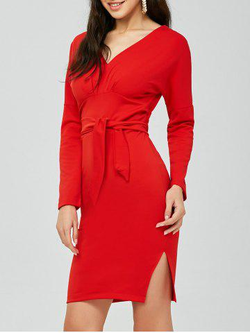 New V Neck Backless Long Sleeve Pencil Dress RED ONE SIZE