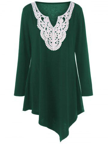 Outfits Plus Size Crochet Asymmetric Tunic T-Shirt GREEN XL
