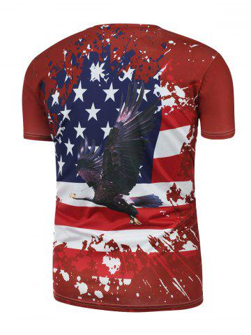 Fashion Eagle and Distressed American Flag Print T Shirt - S RED Mobile