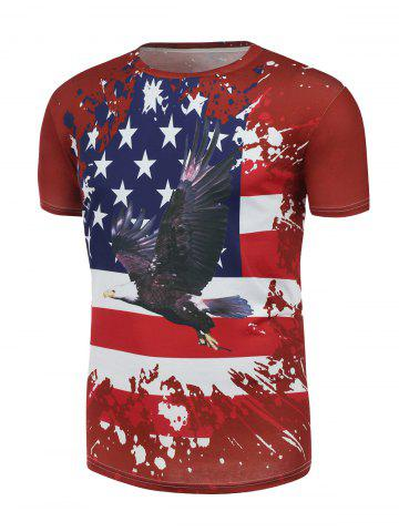 Eagle and Distressed American Flag Print T Shirt - Red - S